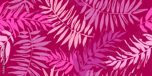 Fototapety, obrazy: Seamless tropical pattern with palm leaves