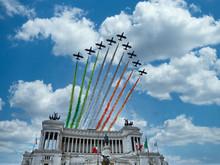 Italian National Republic Day Air Show Aerobatic Team Frecce Tricolore Flying Over Altare Della Patria In Rome, Italy