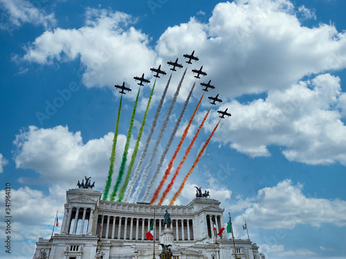 Italian National Republic day Air show aerobatic team frecce tricolore flying ov Fototapeta