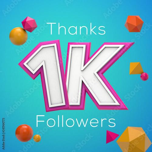 Fotografia, Obraz Thanks 1K followers. Social media subscribers banner. 3D render