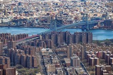 High Angle View Of George Washington Bridge And Cityscape