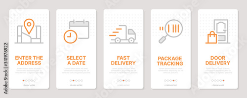 Delivery related vertical cards. Mobile app onboarding screens. Templates for a website. Icons with editable stroke