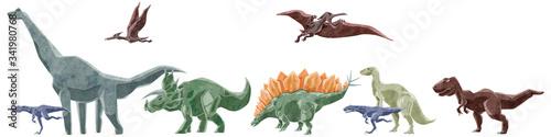 恐竜7種類横並びイラストセット Tapéta, Fotótapéta