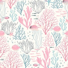 Sea Wildlife With Coral Reef, Fishes And Starfish, Seamless Pattern. Vector Abstract Illustration Pink, Blue And Grey Colors With Texture, Design Elements On Ivory Background.