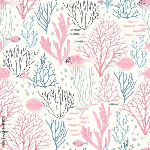 Tapeta różowa  sea-wildlife-with-coral-reef-fishes-and-starfish-seamless-pattern-vector-abstract-illustration-pink-blue-and-grey-colors-with-texture-design-elements-on-ivory-background