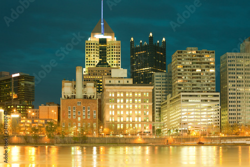 Downtown skyline and Allegheny River, Pittsburgh, Pennsylvania, United States Wallpaper Mural