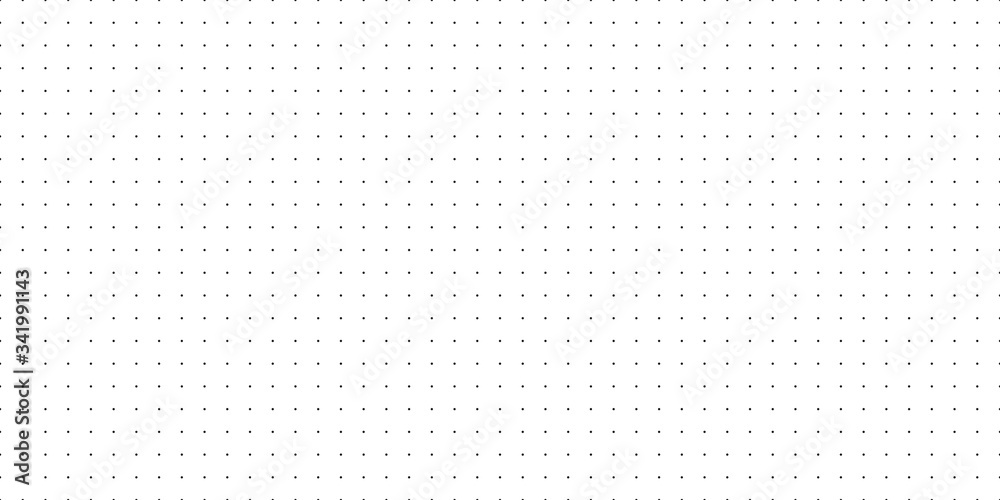 Fototapeta Horizontal seamless vector black dots on white background. Seamless dot grid technology background template.