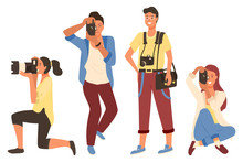 Man And Woman Holding Photo-camera And Shooting. Photographers In Casual Clothes Taking Photos, Male And Female Photographing Leisure Or Hobby Vector