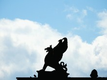 Low Angle View Of Griffin Statue On Roof Against Sky At Krestovsky Island