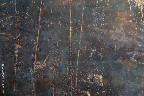 Fototapeta rusted black flat raw steel sheet surface texture and background with scratches obraz