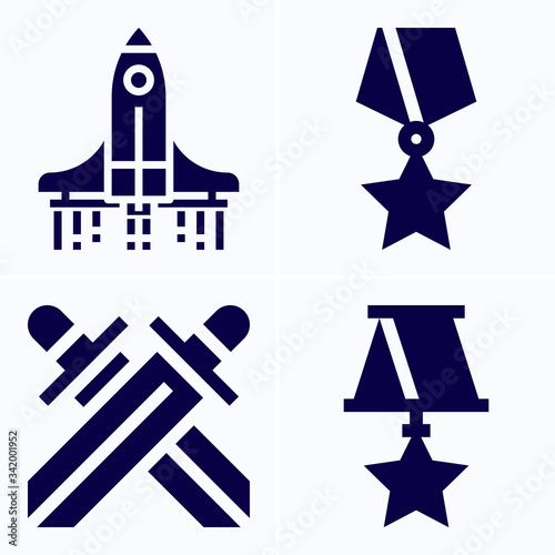 Valokuvatapetti Simple set of 4 icons related to invaded