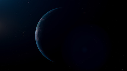 Blue Exoplanet 3d render for background