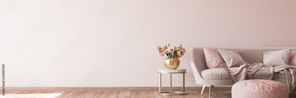 Fototapeta interior design for living area with stylish home accessories on bright pink background