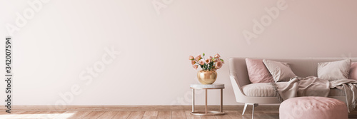 interior design for living area with stylish home accessories on bright pink background - fototapety na wymiar