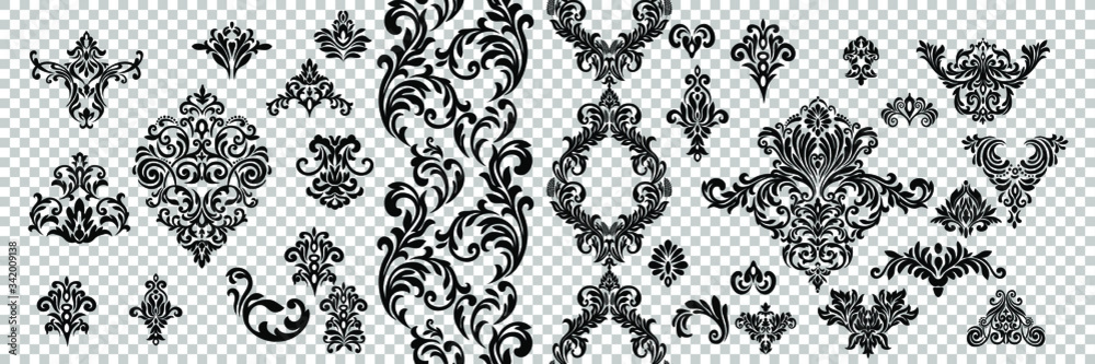 Fototapeta Vintage baroque frame scroll ornament engraving border floral retro pattern antique style acanthus foliage swirl decorative design element filigree calligraphy.
