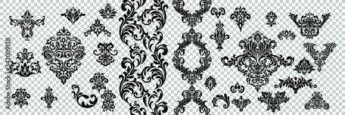 Obraz Vintage baroque frame scroll ornament engraving border floral retro pattern antique style acanthus foliage swirl decorative design element filigree calligraphy. - fototapety do salonu