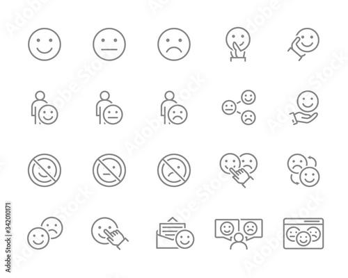 Vászonkép Set of emotion feedback line icons