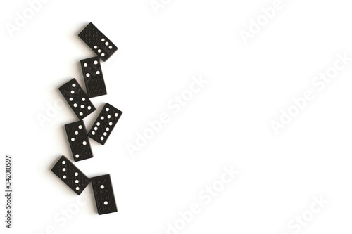Fotomural Black dominoes isolated on white background, top view