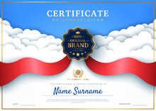 Certificate Of Appreciation Template With White Paper Cut Clouds, Red Award Ribbon And Quality Badge. Vector Illustration. Place For Text