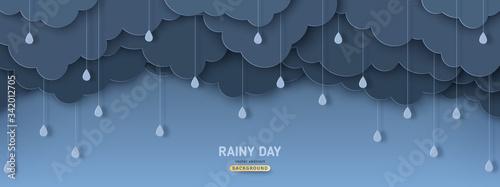 Fotografia Overcast sky with rain drops in paper cut style