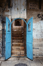 Old House With Blue Gates Door...