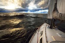 Yacht Sailing In An Open Sea O...