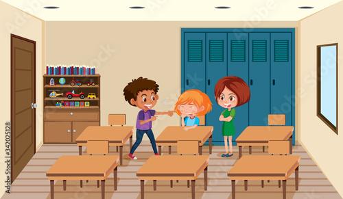 Fotografie, Obraz Scene with kid bullying their friend in classroom