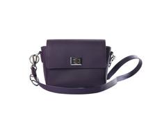 Stylish Purple Leather Bag Isolated On White