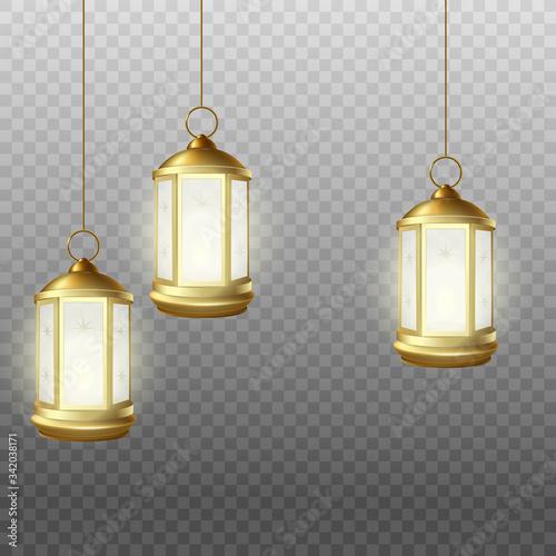 Realistic Muslim Mubarak holdiday lantern lamps hanging from above Wall mural