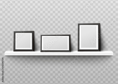 Tablou Canvas Mockup of photo frames on shelf realistic vector illustration isolated