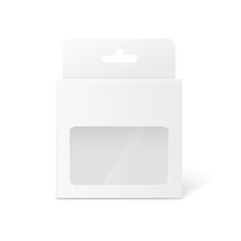 White Retail Pack Box With Hang Tab And Clear Plastic Window