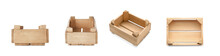 Set Of Wooden Crates On White ...