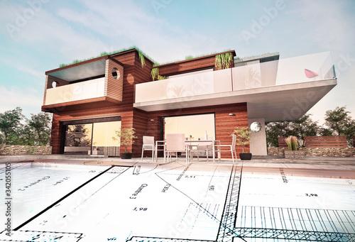 Photo Belle maison moderne d'architecte en bois concept écologie avec plan de concepti