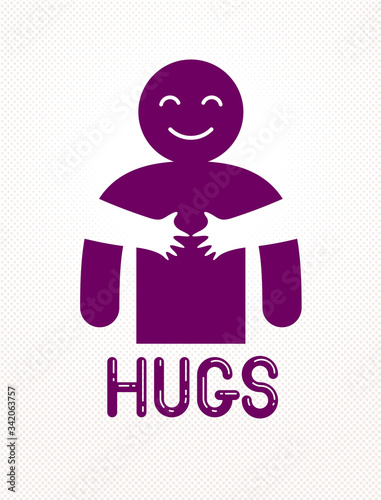 Hugs with loving hands of loved person, lover woman hugging his man and shares love, vector icon logo or illustration in simplistic symbolic style Canvas Print
