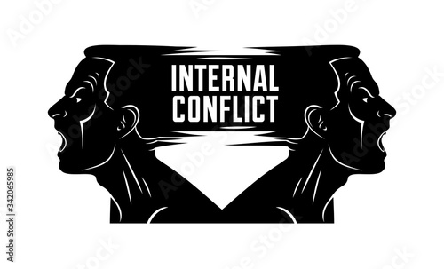 Photo Ambivalence inner conflict and bipolar disorder mental health vector conceptual illustration or logo visualized by two face profiles screaming and shouting in anger