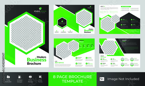 8 Pages Creative multipurpose Brochure template design with A4 Page Easy to edit Tapéta, Fotótapéta
