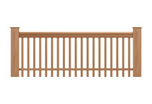 Wooden Handrails, Banister Or Fencing Realistic Vector Illustration Isolated.