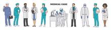 Cartoon Doctor, Nurse And Scie...