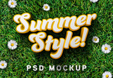 3D Text Effect Mockup with Grass Background - 342075735