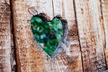 Spider Web On Wooden Heart Shape Fence