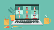 People Connecting Together, Learning Or Meeting Online With Teleconference, Video Conference Remote Working On Laptop Computer, Work From Home And Anywhere, New Normal Concept, Vector Illustration