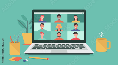people connecting together, learning or meeting online with teleconference, vide Canvas