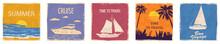 Set Speedboat Sailboat Seascap...