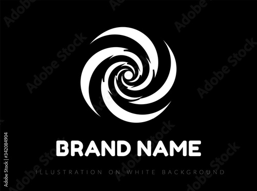 Fototapeta Abstract spiral circle design. Vector logo on black