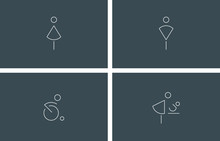 Toilet Symbols. Public Toilets Icons, Line Vector Illustrations