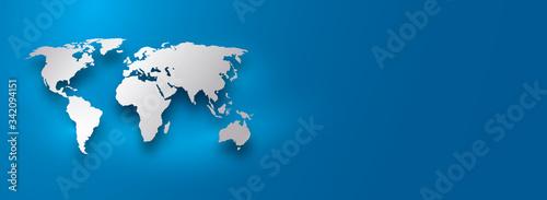 Fototapeta silver world map on blue gradient background obraz