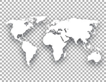 White World Map With Shadow On Transparent Background