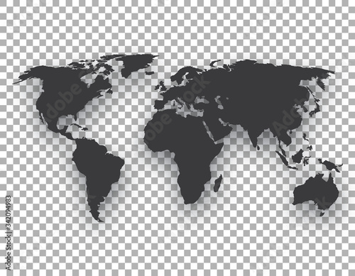 Cuadros en Lienzo world map with shadow on transparent background