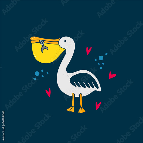 Leinwand Poster Pelican holds a fish in its beak on dark blue background