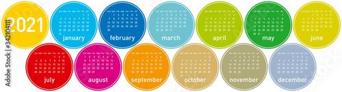 Colorful Circles Calendar for Year 2021 Wallpaper Mural